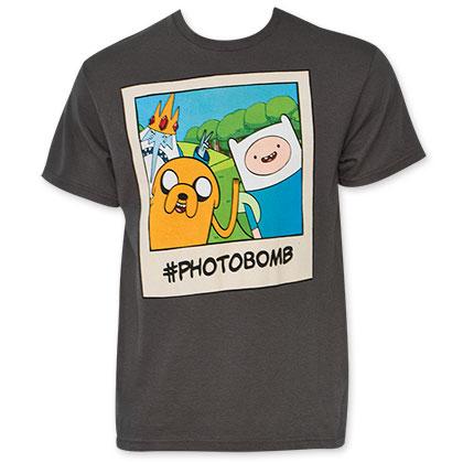 Adventure Time Men's Grey Photobomb Tee Shirt