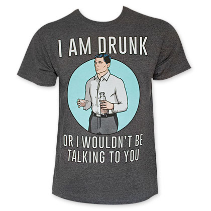 Archer I Am Drunk Men's Grey Tee Shirt