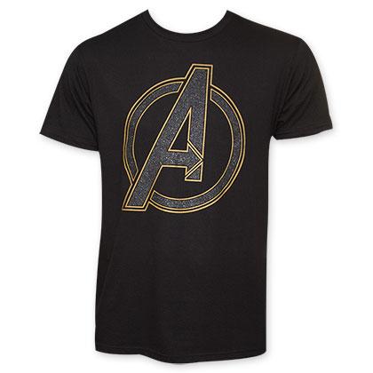The Avengers Black Glitter Logo Tee Shirt