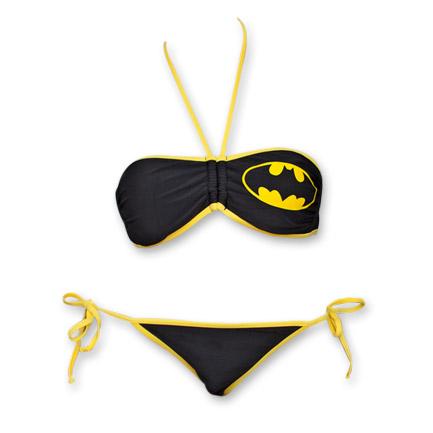 Batman Logo DC Comics Bandeau Swimsuit Two-Piece Bikini - Black