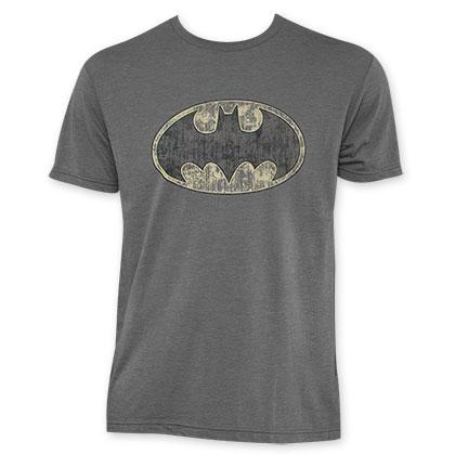 Batman Grey Vintage Logo Premium Tee Shirt