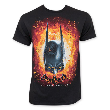 Batman Men's Black Arkham Knight Flames Tee Shirt