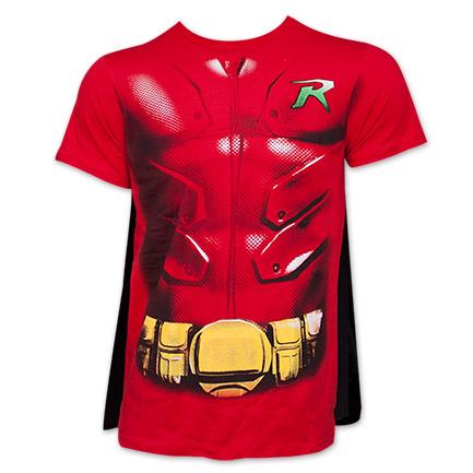Batman Robin Costume DC Comics Superhero T Shirt with Cape Red