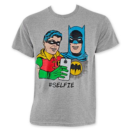 Batman And Robin Grey Selfie Tee Shirt