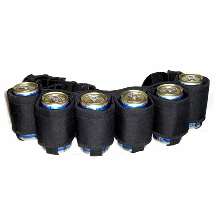 The Beer Belt Six Pack Can Holder Belt - Black