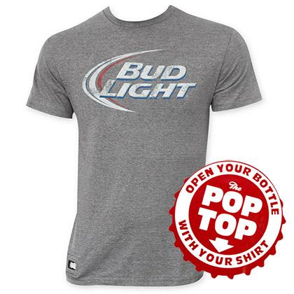 Bud Light Men's Gray's Faded Logo Pop Top Bottle Opener T-Shirt
