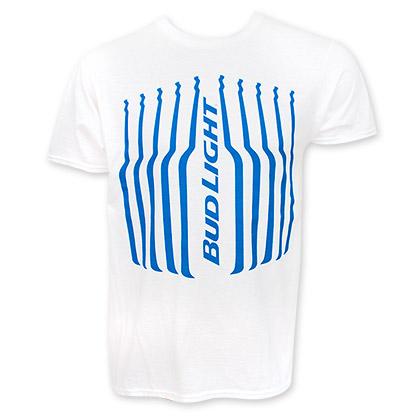 Bud Light Men's White Stripes Tee Shirt