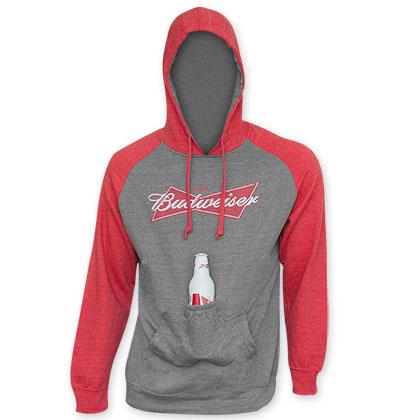 Budweiser Men's Raglan Sleeve Beer Pouch Hooded Sweatshirt