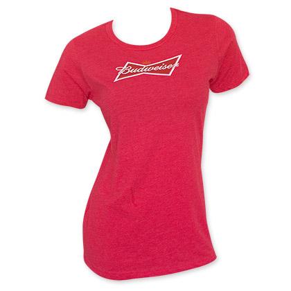 Budweiser Women's Red Crew Neck T-Shirt