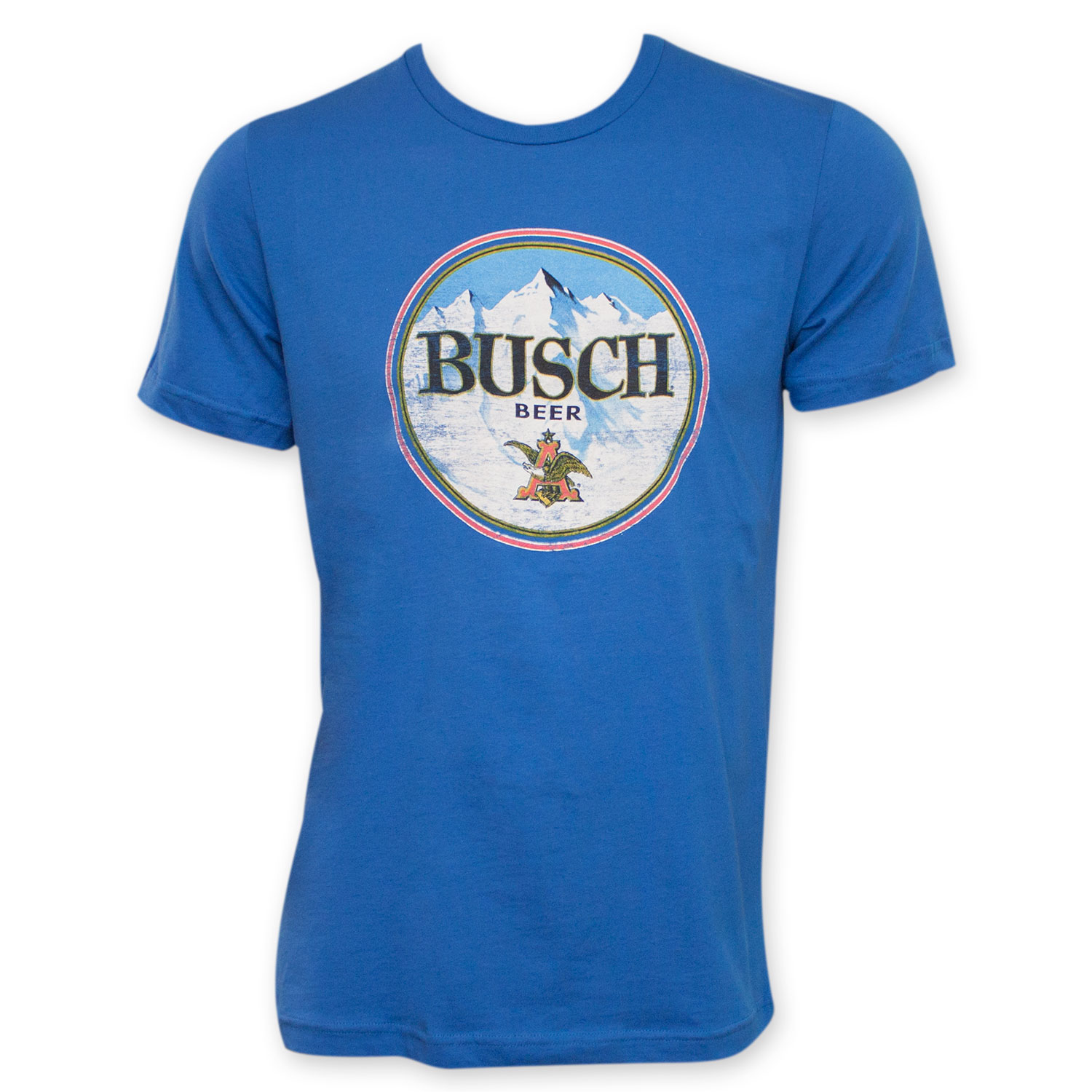 busch beer retro circle logo t shirt blue ebay. Black Bedroom Furniture Sets. Home Design Ideas