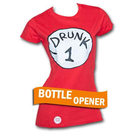 Drunk 1 Bottle Opener Juniors Red Tee Shirt