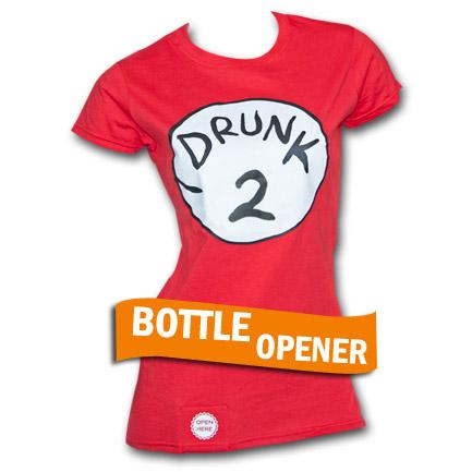 Drunk 2 Bottle Opener Womens Red Tee Shirt
