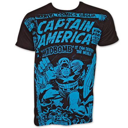 Captain America Madbomb Subway Print TShirt - Black
