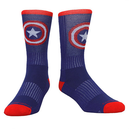 Captain America Blue And Red Active Crew Socks
