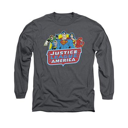 Justice League 8-Bit Gray Long Sleeve T-Shirt