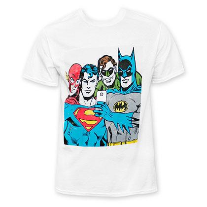 DC Comics Men's White Selfie Tee Shirt