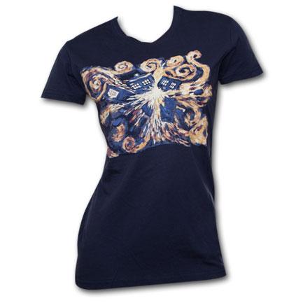 Dr. Who Van Gogh Juniors T Shirt Navy Blue