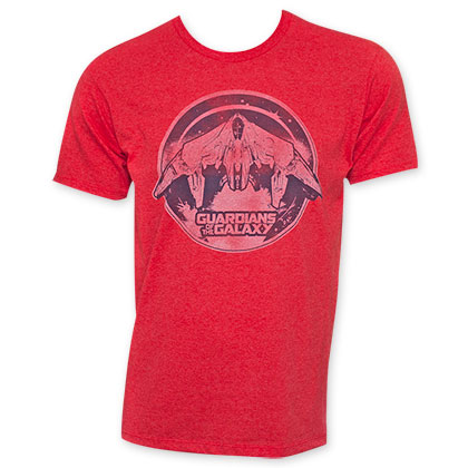 Guardians Of The Galaxy Red Retro Spaceship Logo Tee Shirt