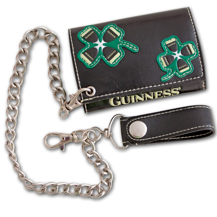 Guinness Triple Clover Black Chain Wallet