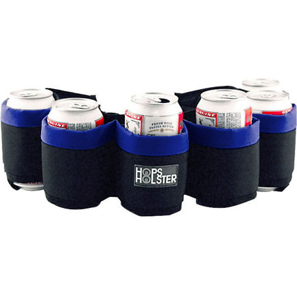 Hops Holster Six Pack Beer Holder Party Belt - Blue