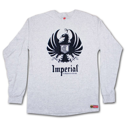 Imperial Cerveza Long Sleeve Heather Grey Graphic Tee Shirt