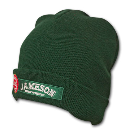 Jameson Whiskey Embroidered Green Winter Knit Beanie Ski Hat