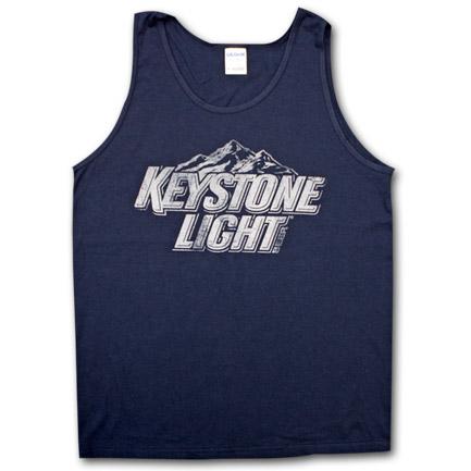 Keystone Light Faded Design Dark Blue Mens Tank Top