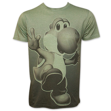 Nintendo Mario Bros. Yoshi Men's Green Sublimation Jump T-Shirt