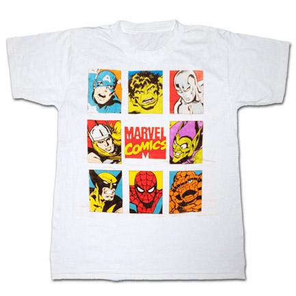 Marvel Comics Character Squares T Shirt White