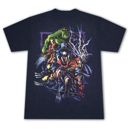 Marvel Characters Lightning T Shirt Navy Blue