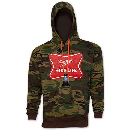 Miller High Life Beer Pouch Hoodie Sweatshirt - Camo