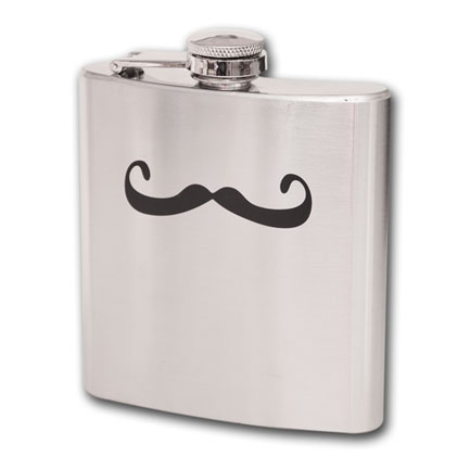 Mustache Stainless Steel Hip Flask