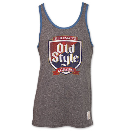 Retro Brand Heileman's Old Style Beer Tank Top T-Shirt - Gray