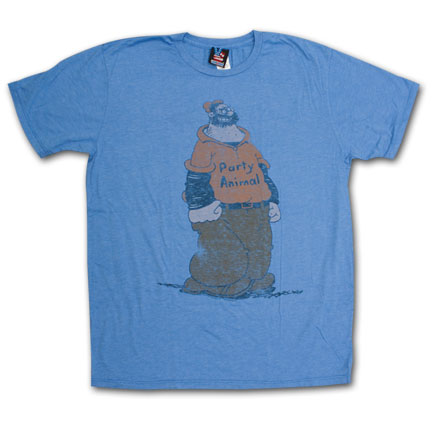 Popeye Brutus Party Animal Retro Junk Food Blue Graphic Tee Shirt