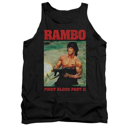 Rambo Dropping Shells Black Tank Top