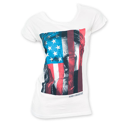 Sons Of Anarchy Women's Cut Back American Flag Jax Tee Shirt