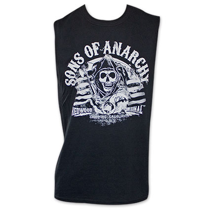 Sons Of Anarchy Redwood Original Black Sleeveless Muscle Tank Top
