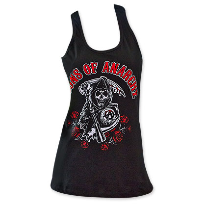 Sons Of Anarchy Red Logo Women's Roses Tank Top