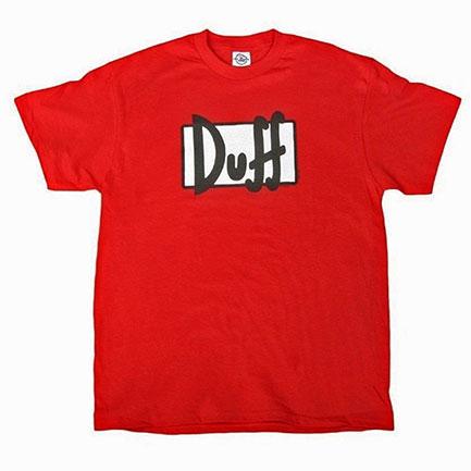 Simpsons Duff Logo Red Graphic Tee Shirt