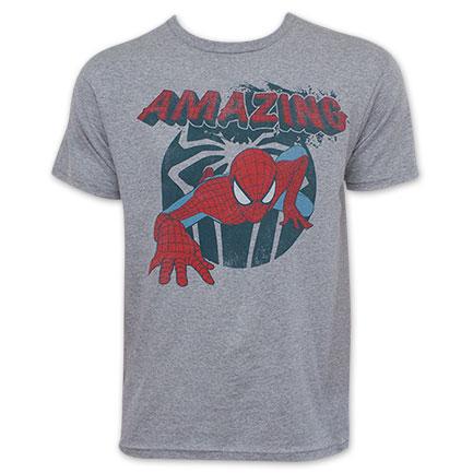 Spider-Man Retro Amazing Spider Grey Tee Shirt