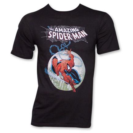 Spider-Man Marvel Web Moon Superhero T-Shirt Black