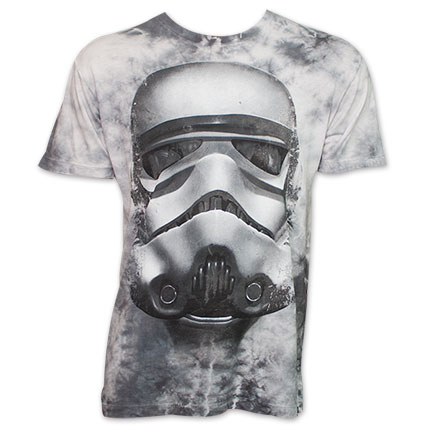 Star Wars Stormtrooper Helmet Mineral Wash Tee Shirt - Gray