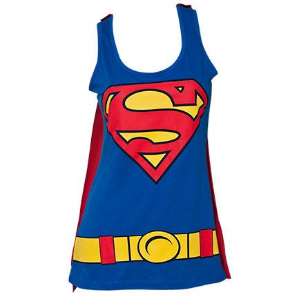 Superman Removable Cape Juniors Costume Tank Top Shirt - Blue