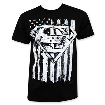 Superman Men's Black American Flag Chalk Tee Shirt