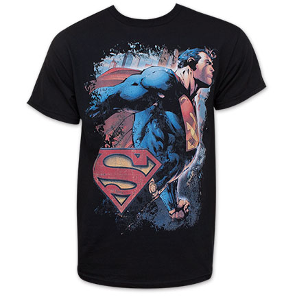 Superman Black Flying Proud Tee Shirt