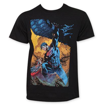 Superman Black Men's American Flag Tee Shirt