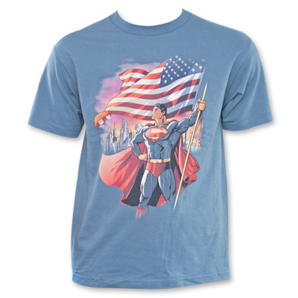 Superman American Flag Shirt Blue