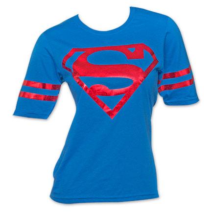 Superman Metallic Foil Shield DC Comics Athletic Juniors T-Shirt - Blue