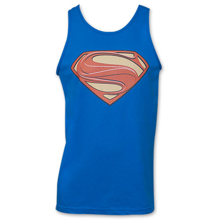 Superman Man of Steel Logo Top Shirt - Blue