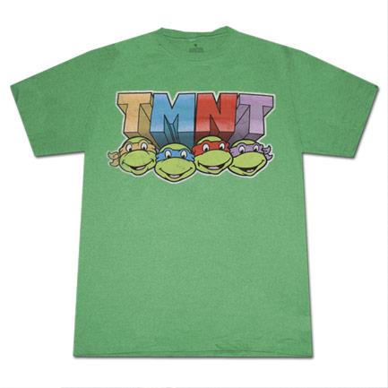 Teenage Mutant Ninja Turtles 4 Faces T Shirt Green